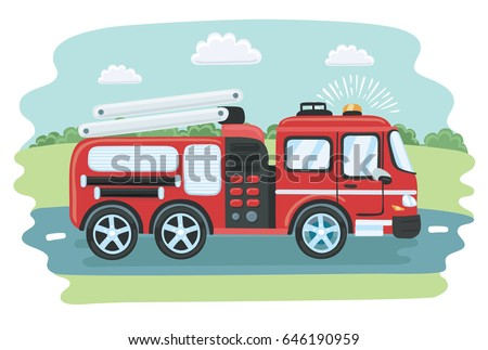 Vector cartoon illustration of red fire truck with white stripes on summer road background