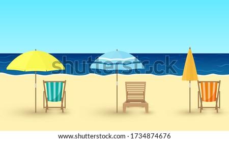 Vector cartoon illustration of sandy beach, chairs, umbrellas on sea background. Beach chairs, parasols for design, card, travel concept. Summer vacation, empty beach, coronavirus Covid-19, lockdown.