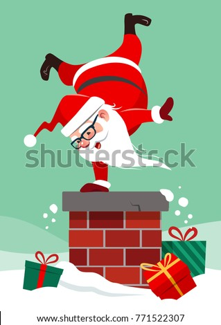 Vector cartoon illustration of Santa Claus on house roof doing handstand on chimney, with colorful wrapped presents lying around in snow. Funny humorous Christmas winter holiday greeting card design
