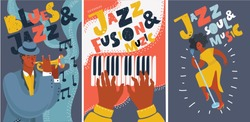 Vector cartoon illustration of Set of music cards and banners, posters. Music cards with singer, piano, hands, trumpet player. Jazz music festival banners. Colorful jazz concert posters