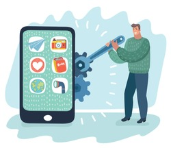 Vector cartoon illustration of setup and repair smartphone gadget by engineer. Man is installing software applications and servicing smart phone. Modern outline concept