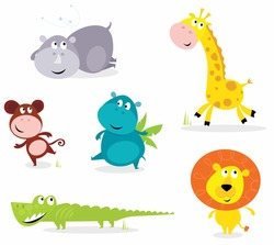 Vector cartoon illustration of six cute safari animals - Giraffe, Hippopotamus, Rhinoceros, Crocodile, Lion and Monkey.