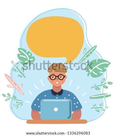 Vector cartoon illustration of smart clever little boy in glasses, thinking at the laptop. Speech Bubble above him.