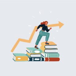 Vector cartoon illustration of Successfully woman going from one education level to another. Girl steps up stairs of books on white background.