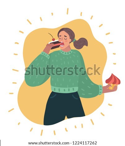 Vector cartoon illustration of Sweet tooth lady eating cake. Lady greedily devouring sweets and backery production. Female funny character in modern style.