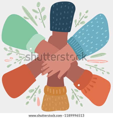 Vector cartoon illustration of teamwork concept. Friends with stack of hands showing unity and teamwork, top view. Young people putting their hands together. Object on white background.