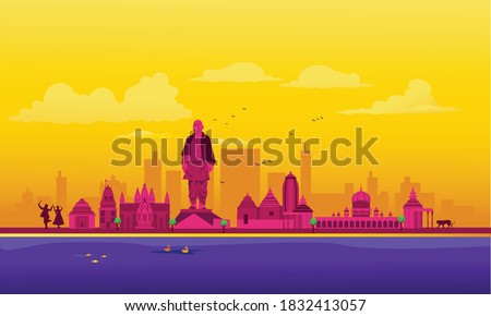 Vector cartoon illustration of the Gujarat skyline. Isolated on a colored background.