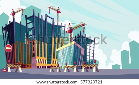 Vector cartoon illustration of the process of the construction of buildings