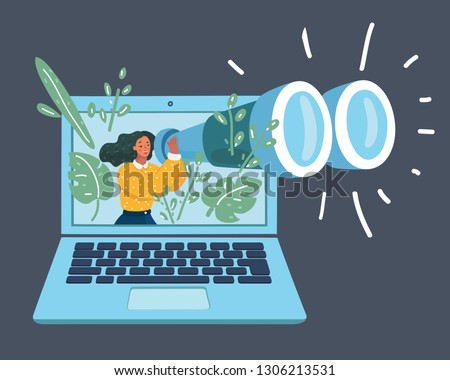 Vector cartoon illustration of tiny woman with giant binocular looking through big laptop. Optimization, programming process and web analytics concept. Isolated on dark background