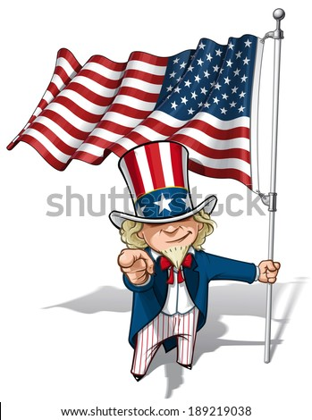 Vector Cartoon Illustration of Uncle Sam holding a waving American flag and pointing