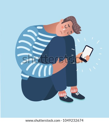 Vector cartoon illustration of Upset crying black man sitting and hugging his knees holding phone. Dislike, parting, disappointment, depression, sadness, social media