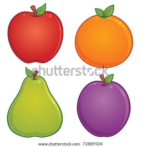 Orange Fruit Drawing. stock vector : Vector cartoon illustration of various fruit. Apple, orange, pear and