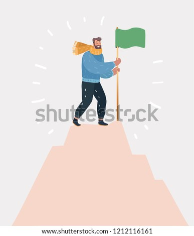 Vector cartoon illustration of Victorious person standing on a mountaintop holding a flag icon. Successful goal achievement symbol. Human character on white background.