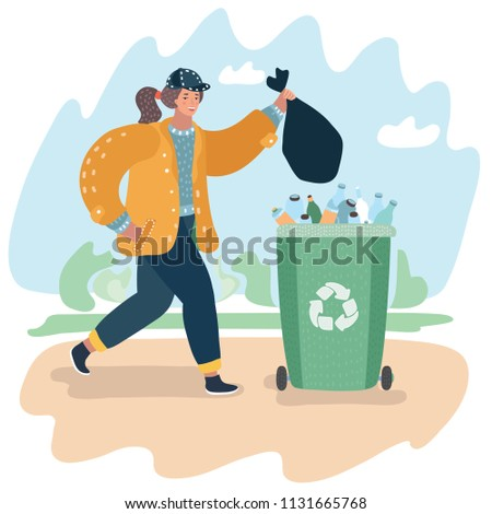 Vector cartoon illustration of Waste recycling concept. Gathering, sorting and transporting process of garbage. Woman throwing out trash in can on the street.