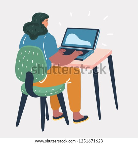 Vector cartoon illustration of woman sitting at a desk and working on the computer, back view. Workplace, make money online, e-business, e-learning, concept.