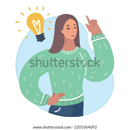 Vector cartoon illustration of Women idea came. Female character is up her forefinger. It dawned with Incandescent lamp