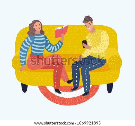 Vector cartoon illustration of young couple reading book and look in phone on sofa.