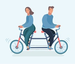 Vector cartoon illustration of young couple. Woman and man ride tandem bicycle in different directions. Concept of disagreement, misunderstanding, separation, the crisis in relationship