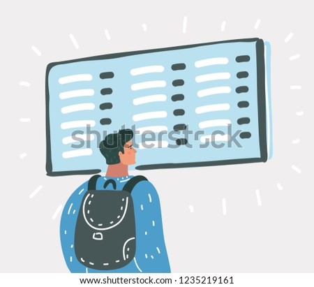 Vector cartoon illustration of Young man with backpack in airport near flight timetable.