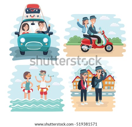 Vector cartoon illustration of young tourists couple. Family on vacation. Together scene. By car, riding on scooter, take photo of sights and splashing in the sea on resort