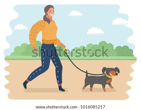 Vector cartoon illustration of young woman walking a dog in the park