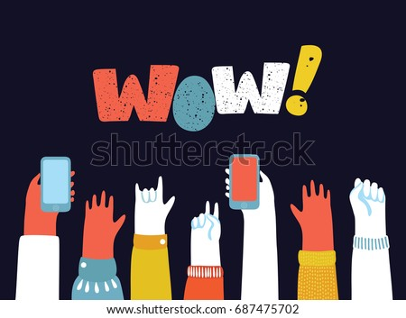 Vector cartoon illustration of youth crowd hands manifesting new generation. Raise high up fists, a lot of hands of young people boys and girls with different gestures, smartphone. Concept banner, Wow