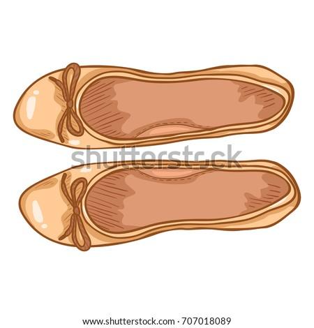 Vector Cartoon Illustration - Pair of Beige Suede Women Ballet Flats. Top View