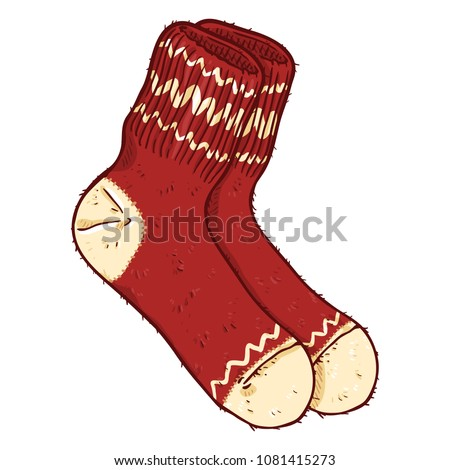 Vector Cartoon Illustration - Red Woolen Socks with White Ornament