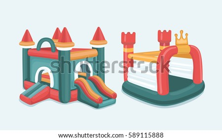 Vector cartoon illustration set of inflatable castles and children slides. Isolated on white background