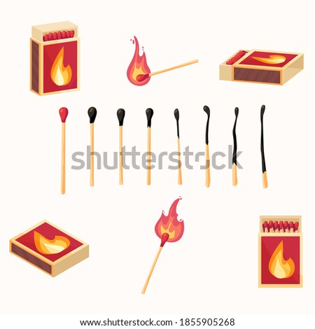Vector cartoon illustration set of  matches.Burning match with fire, burnt matchstick, opened match box.  isolated.