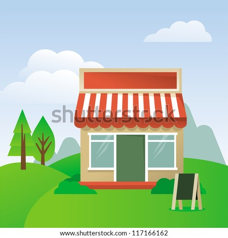 Vector cartoon illustration - store house with striped awning