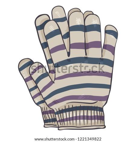 Vector Cartoon Illustration - Stripy Casual Textile Gloves