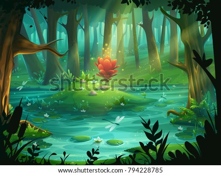 Vector cartoon illustration the Scarlet Flower on an island in a swamp in the forest. Background for design game, websites and mobile phones, printing.