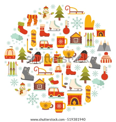 Vector cartoon illustration with winter background. Vector winter sport, car, snowflake, cloth, tea, fireplace. Cartoon cute winter objects. Vector background for your holidays design