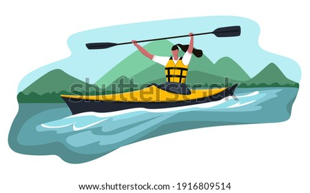 Vector cartoon illustration woman who won kayak competition. She lifted paddle up. Concept water sports, kayaking, activity, rafting, canoe. Foto stock ©