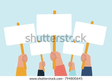 Vector cartoon illustratioon of hands holding plate. Presidential Election Voting Poster. Vector flat cartoon illustration for news, infographics, banners design
