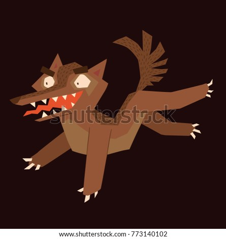 Vector cartoon image of a funny brown heraldic wolf running somewhere and smiling on a dark background. Coat of arms, heraldry, emblem, symbol. Color image. Vector illustration.