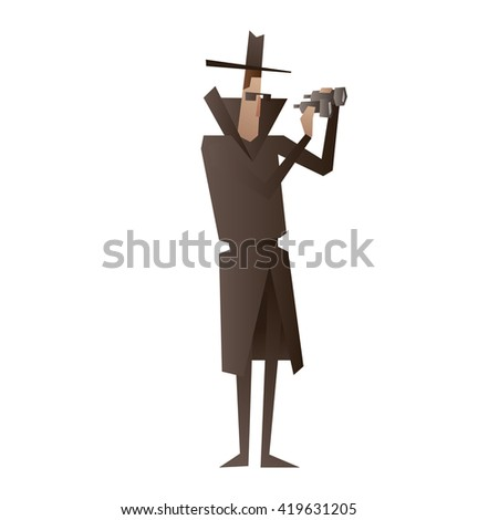 vector cartoon image of a spy