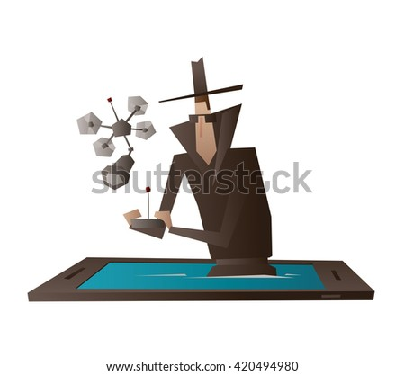 vector cartoon image of a spy