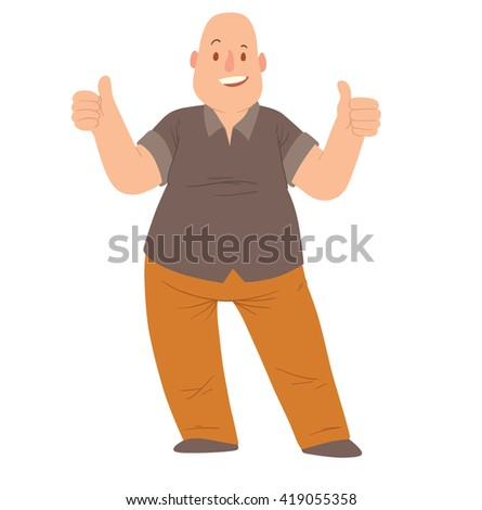 Vector cartoon image of an overweight bald man in orange pants and black t-shirt standing, smiling and showing thumbs up on a white background. Happy overweight man. Vector illustration.