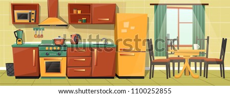 Vector cartoon interior of family kitchen - counter with appliances, furniture. Household objects, cooking, dining room