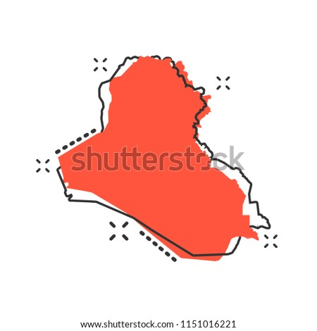 Vector cartoon Iraq map icon in comic style. Iraq sign illustration pictogram. Cartography map business splash effect concept.