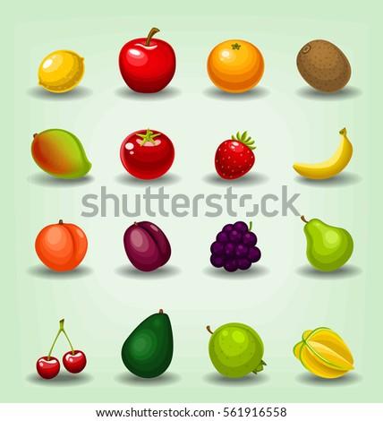 vector cartoon isolated fruits