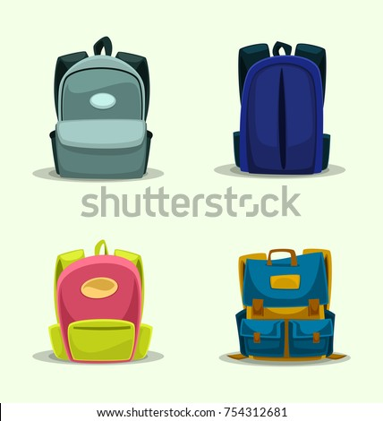 vector cartoon isolated school bag template backpack for kid and girl