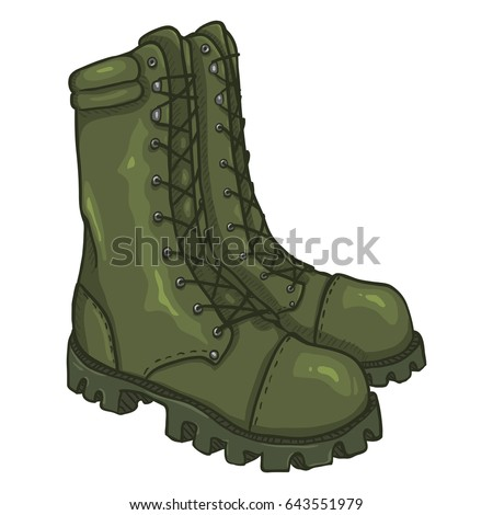 Vector Cartoon Khaki Army Boots. High Military Shoes