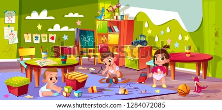 Vector cartoon kindergarten - boys and girl playing together. Children in diapers, montessori school for infants. Education system. Furniture, toys and other elements for teaching and learning kids.