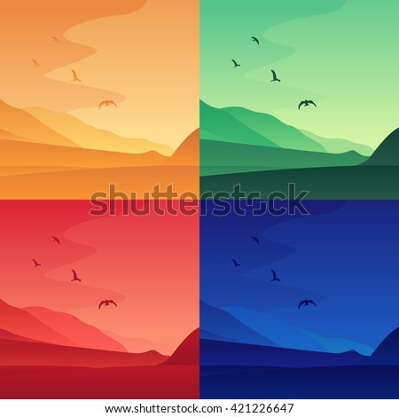 vector cartoon landscapes