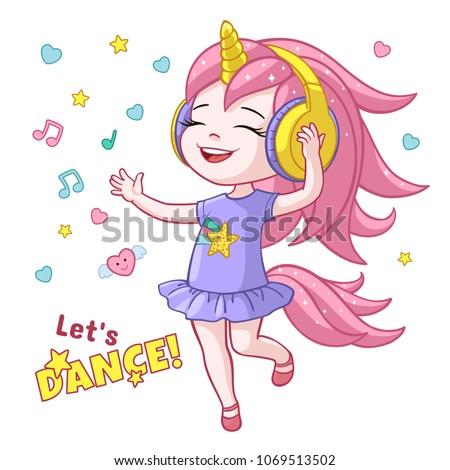 stock-vector-vector-cartoon-lets-dance-poster-with-cute-girl-kid-dancing-in-headphones-wearing-unicorn-horn