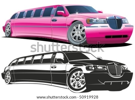 Vector cartoon limousine color and b/w versions