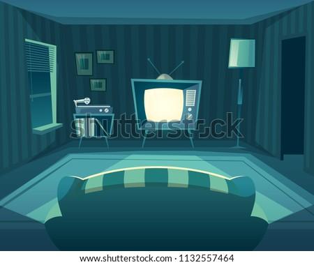 vector cartoon living room at